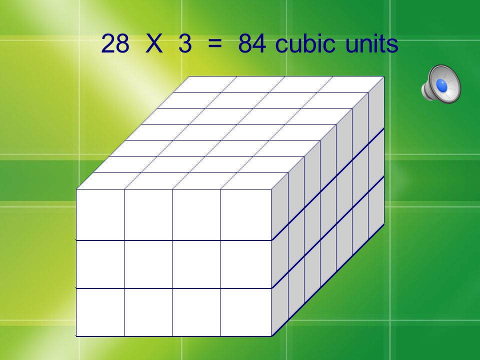 Bottom Front Bottom Side So there are 28 cubes on the first level of this prism.