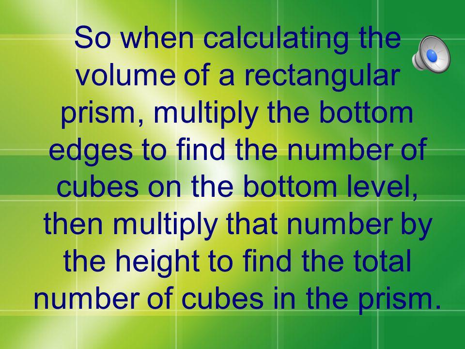 28 X 3 = 84 cubic units