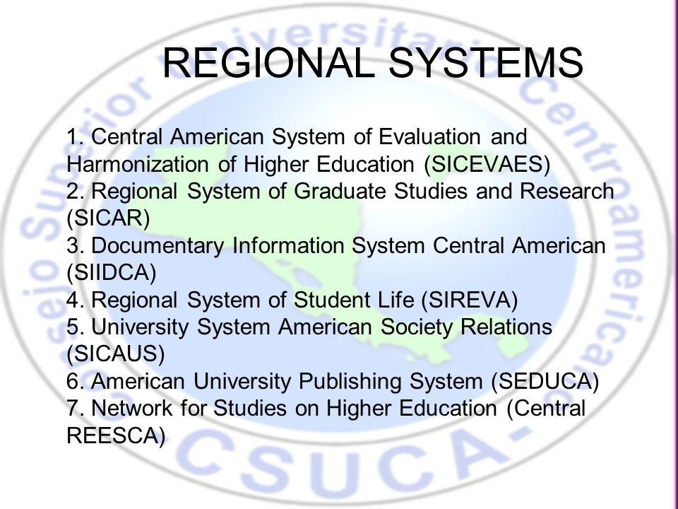 CSUCA Harmonization Agreements LXXXVIII Ordinary Meeting, El Salvador, 24 and 25 September 2009 (1):  Central strategies of the harmonization process: a) Definition of basic general aspects of higher education as a common reference for Central America such as: nomenclature of degrees and titles, definition of credit, length of curriculum for certification, regulation of academic load for students and glossary terms.