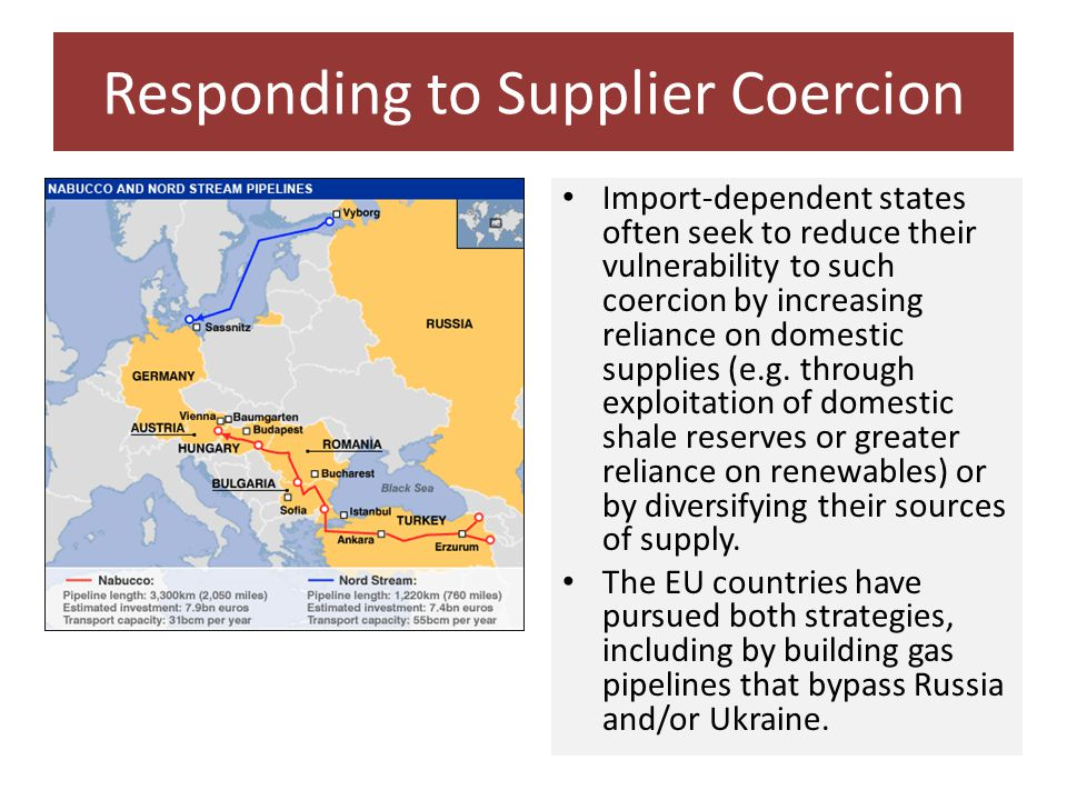 Responding to Supplier Coercion Import-dependent states often seek to reduce their vulnerability to such coercion by increasing reliance on domestic supplies (e.g.