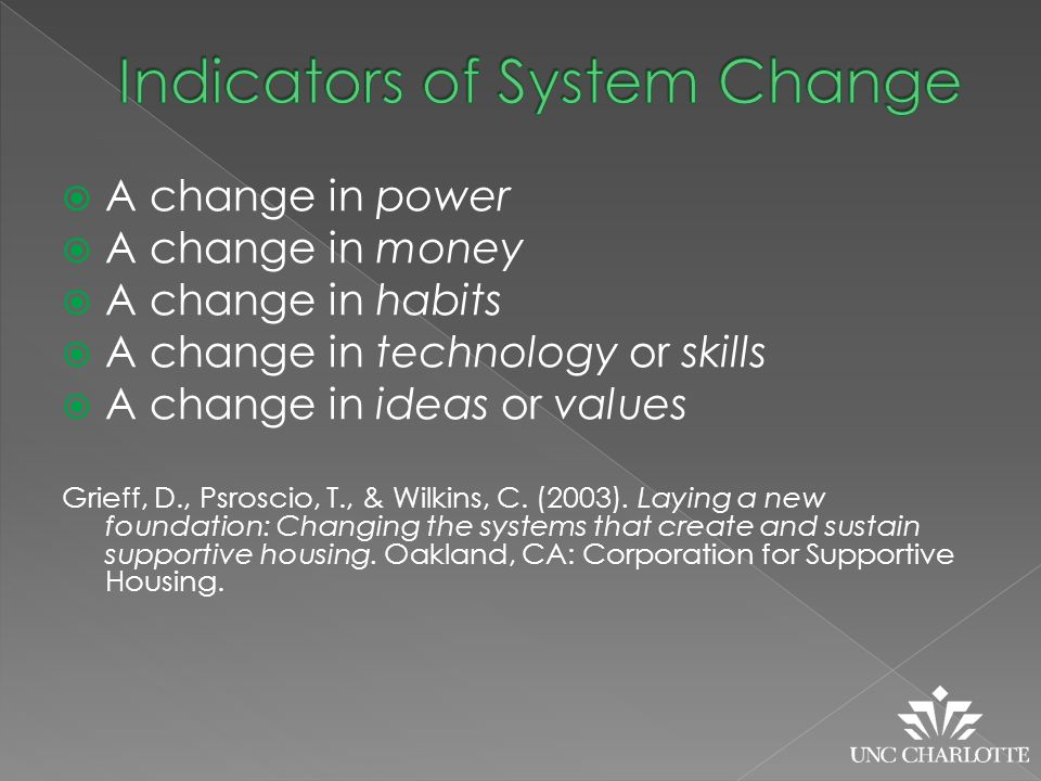  A change in power  A change in money  A change in habits  A change in technology or skills  A change in ideas or values Grieff, D., Psroscio, T., & Wilkins, C.