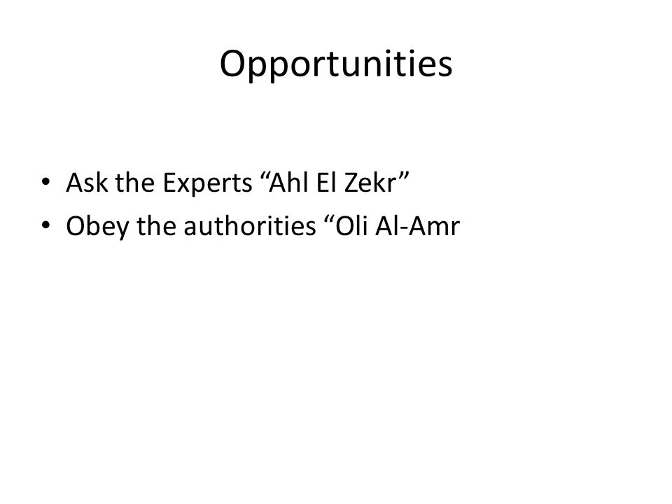 Opportunities Ask the Experts Ahl El Zekr Obey the authorities Oli Al-Amr