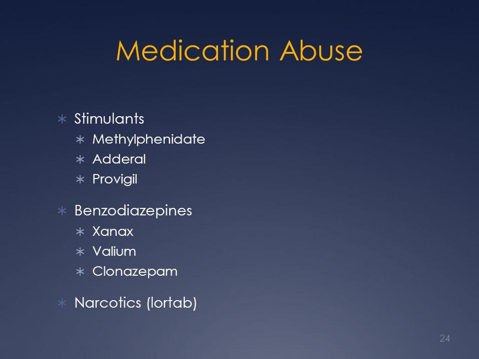 Medication Abuse  Stimulants  Methylphenidate  Adderal  Provigil  Benzodiazepines  Xanax  Valium  Clonazepam  Narcotics (lortab) 24