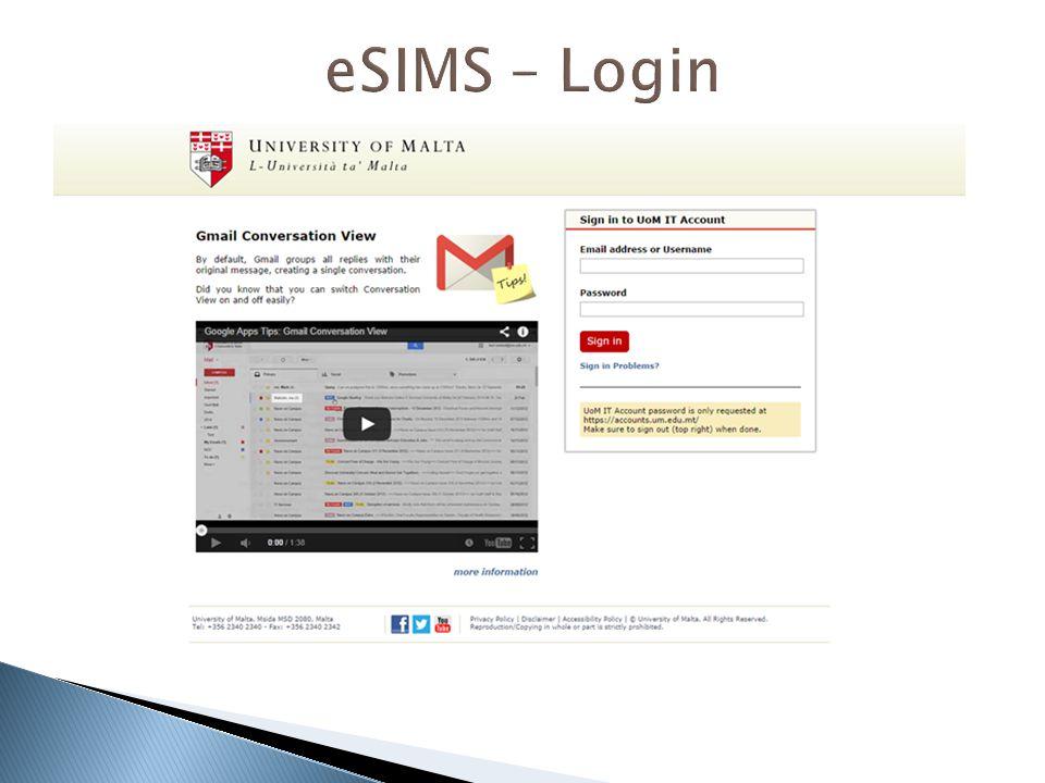 eSIMS – Login  Type your Student University IT Account login details
