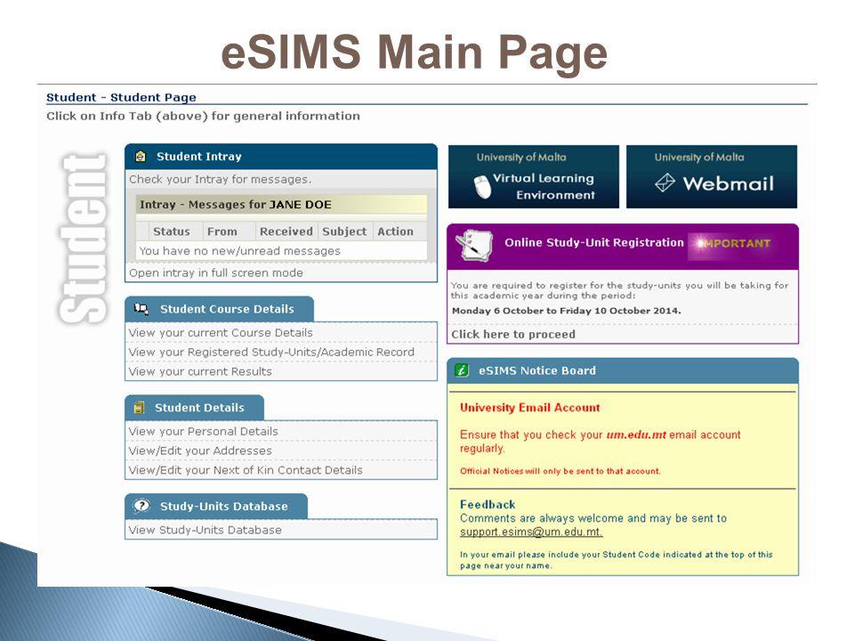 eSIMS Main Page