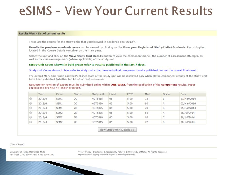 eSIMS – View Your Current Results