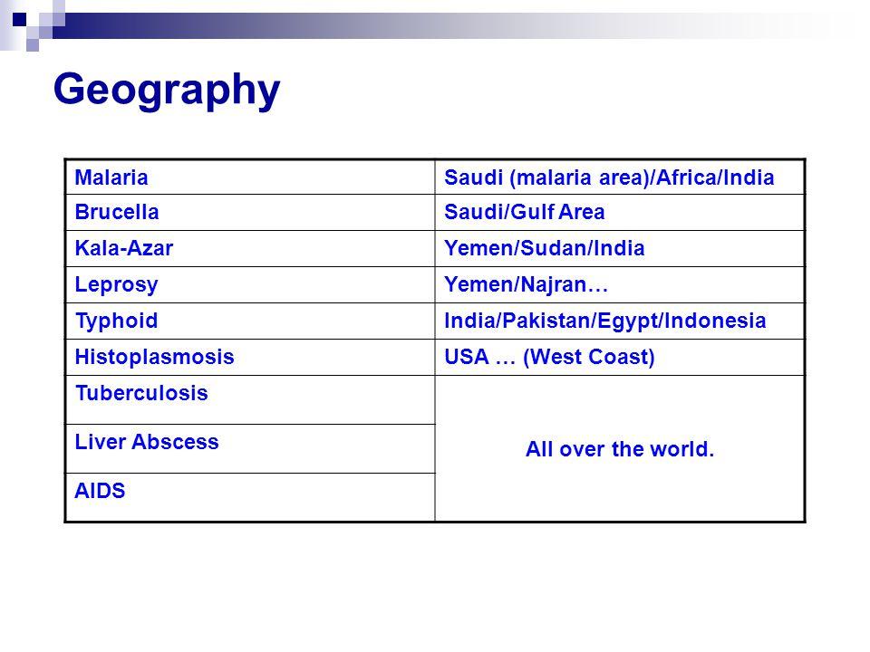 Geography MalariaSaudi (malaria area)/Africa/India BrucellaSaudi/Gulf Area Kala-AzarYemen/Sudan/India LeprosyYemen/Najran… TyphoidIndia/Pakistan/Egypt/Indonesia HistoplasmosisUSA … (West Coast) Tuberculosis All over the world.