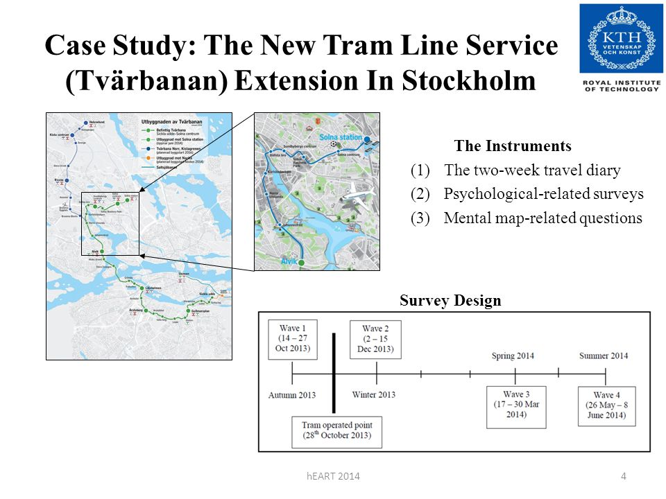 Case Study: The New Tram Line Service (Tvärbanan) Extension In Stockholm hEART 20144 The Instruments (1)The two-week travel diary (2)Psychological-related surveys (3)Mental map-related questions Survey Design