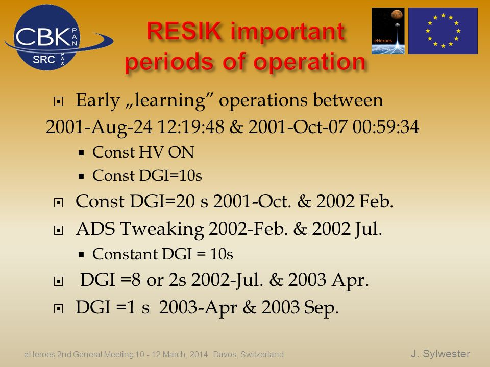 " Early ""learning operations between 2001-Aug-24 12:19:48 & 2001-Oct-07 00:59:34  Const HV ON  Const DGI=10s  Const DGI=20 s 2001-Oct."