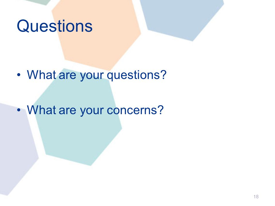 Questions What are your questions? What are your concerns? 18