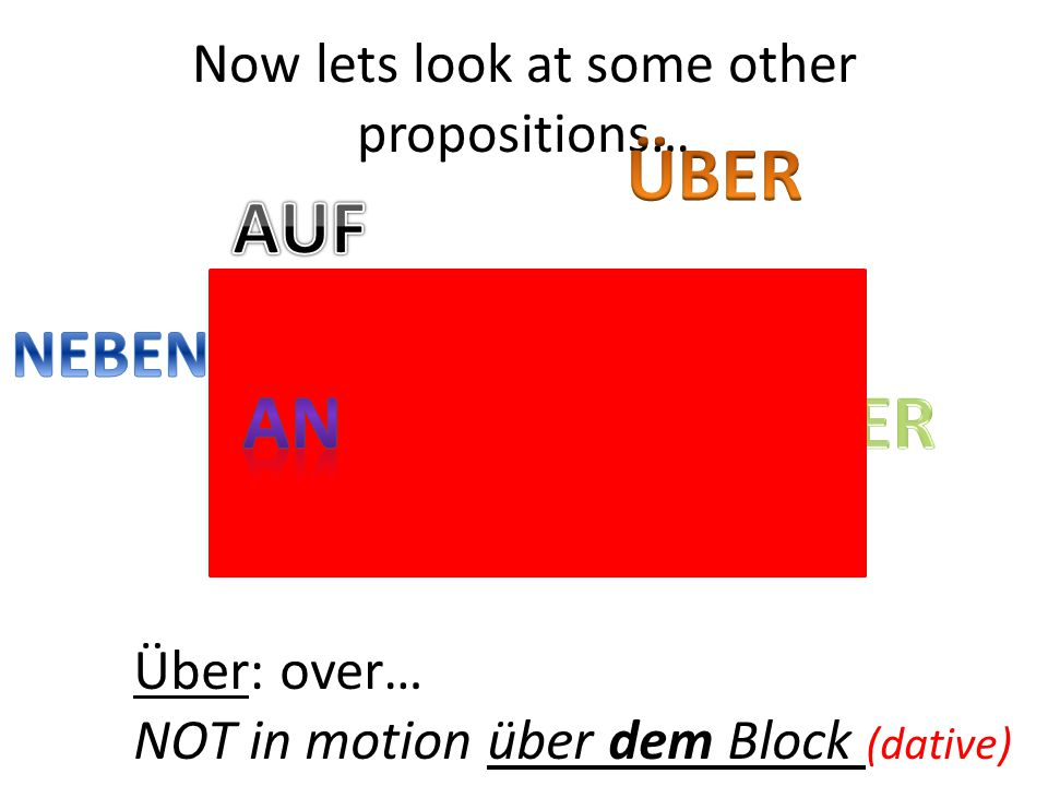 Über: over… NOT in motion über dem Block (dative) Now lets look at some other propositions…