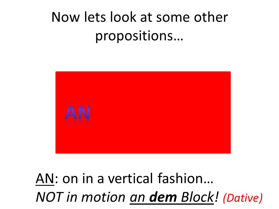 Now lets look at some other propositions… AN: on in a vertical fashion… NOT in motion an dem Block! (Dative)
