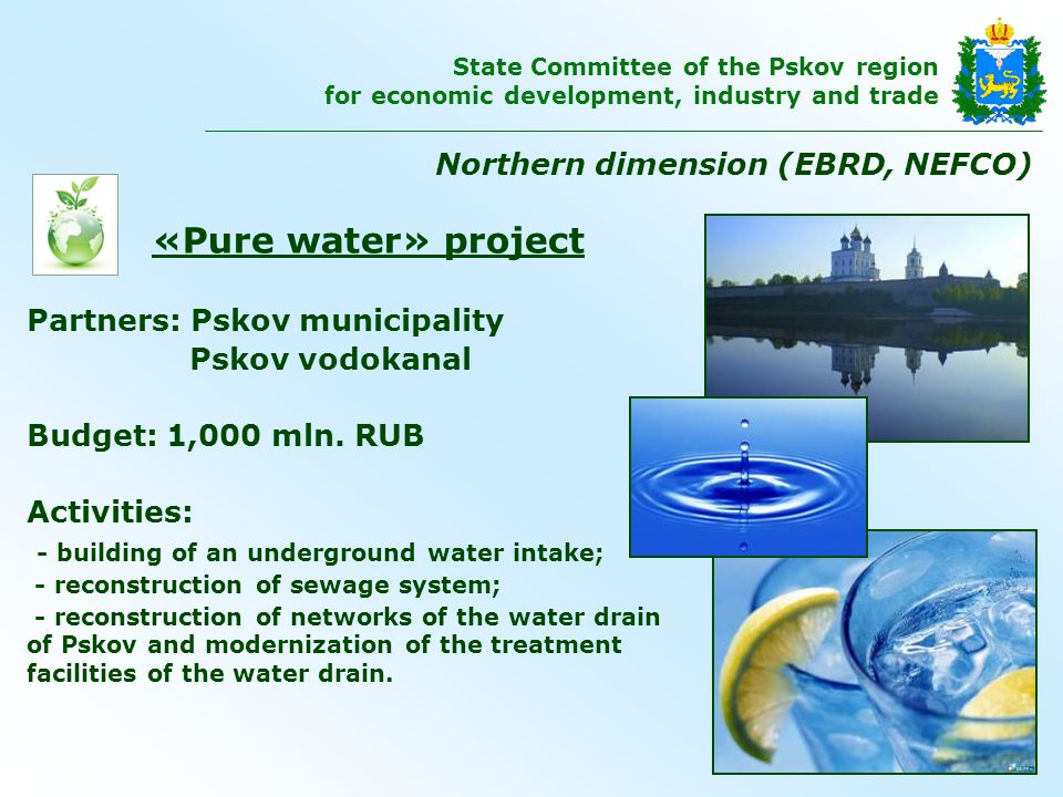 «Pure water» project Partners: Pskov municipality Pskov vodokanal Budget: 1,000 mln.