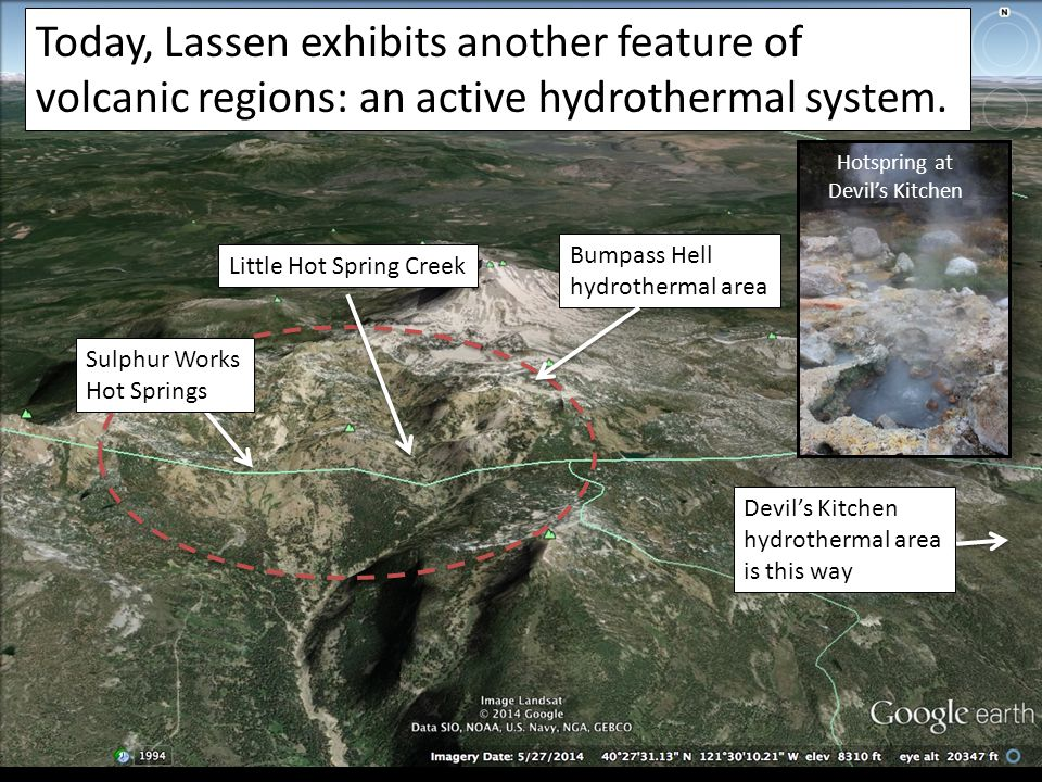 Today, Lassen exhibits another feature of volcanic regions: an active hydrothermal system.