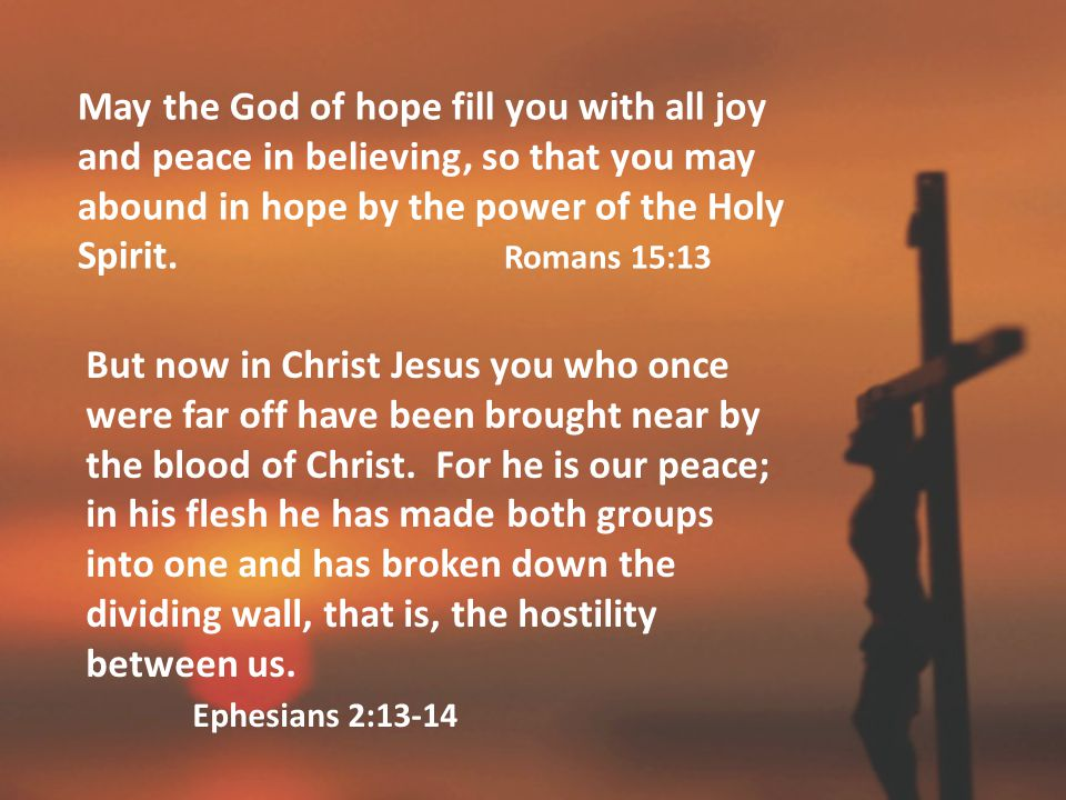May the God of hope fill you with all joy and peace in believing, so that you may abound in hope by the power of the Holy Spirit.
