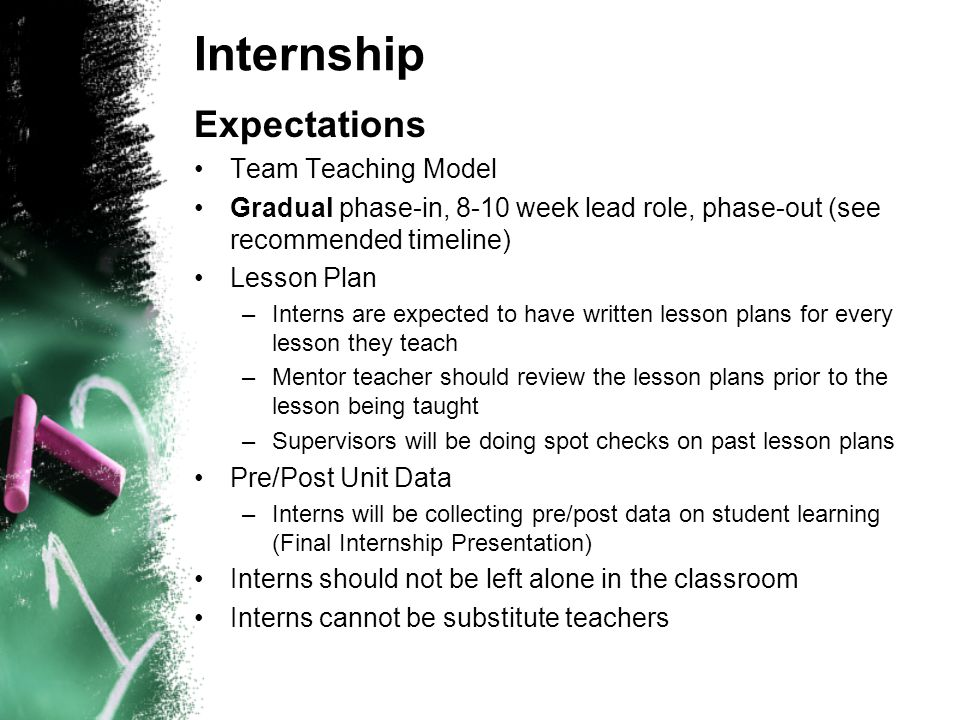 Internship Expectations Team Teaching Model Gradual phase-in, 8-10 week lead role, phase-out (see recommended timeline) Lesson Plan –Interns are expec