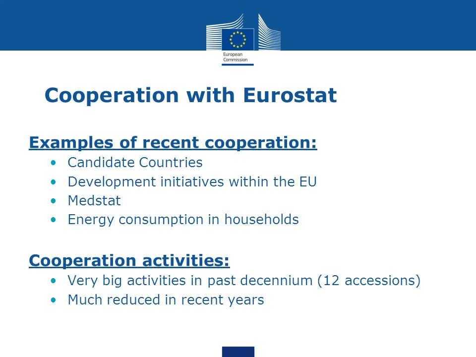 Cooperation with Eurostat Examples of recent cooperation: Candidate Countries Development initiatives within the EU Medstat Energy consumption in households Cooperation activities: Very big activities in past decennium (12 accessions) Much reduced in recent years