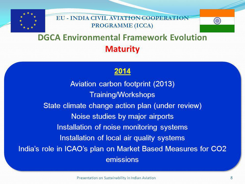 Presentation on Sustainability in Indian Aviation9 EU - INDIA CIVIL AVIATION COOPERATION PROGRAMME (ICCA) Climate Change Highlights  2011/2012/2013 carbon footprints of Indian aviation  India's Action Plan for Climate Change for ICAO (under review)  DGCA Circular 2 of 2013  Aviation Climate Change Task Force  Development of airline/airport carbon footprints  Annual data submission on fuel consumption  Airline/airport reporting