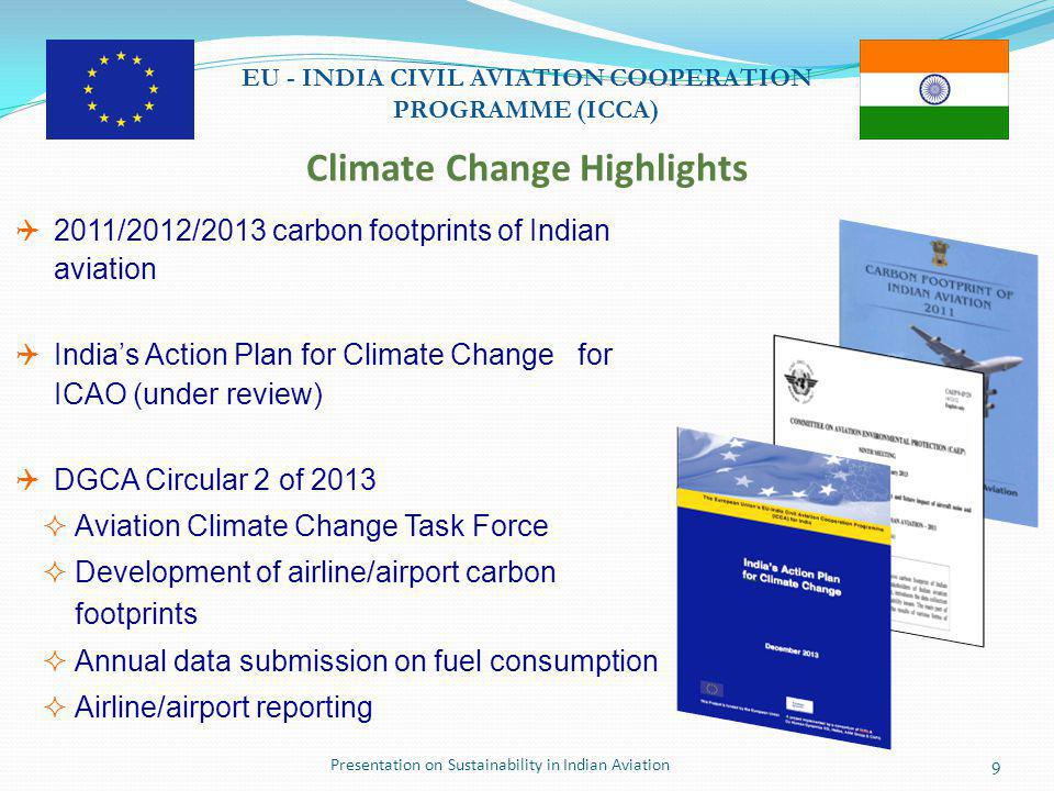 Presentation on Sustainability in Indian Aviation10 EU - INDIA CIVIL AVIATION COOPERATION PROGRAMME (ICCA) Indian Aviation CO 2 Emissions