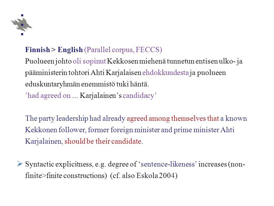 Finnish > English (Parallel corpus, FECCS) Puolueen johto oli sopinut Kekkosen miehenä tunnetun entisen ulko- ja pääministerin tohtori Ahti Karjalaisen ehdokkuudesta ja puolueen eduskuntaryhmän enemmistö tuki häntä.