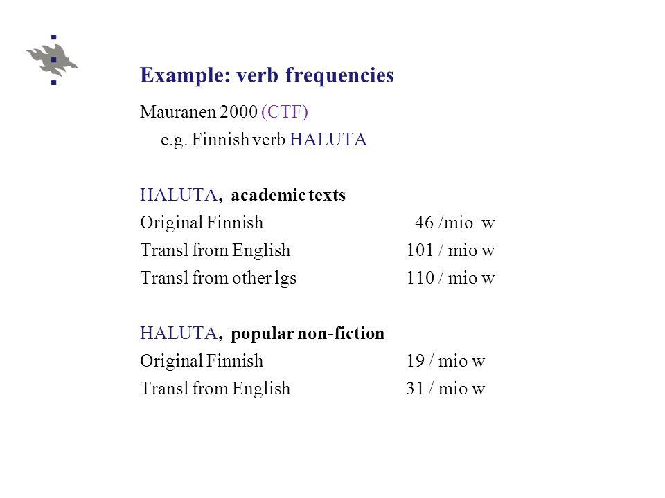 Example: verb frequencies Mauranen 2000 (CTF) e.g.