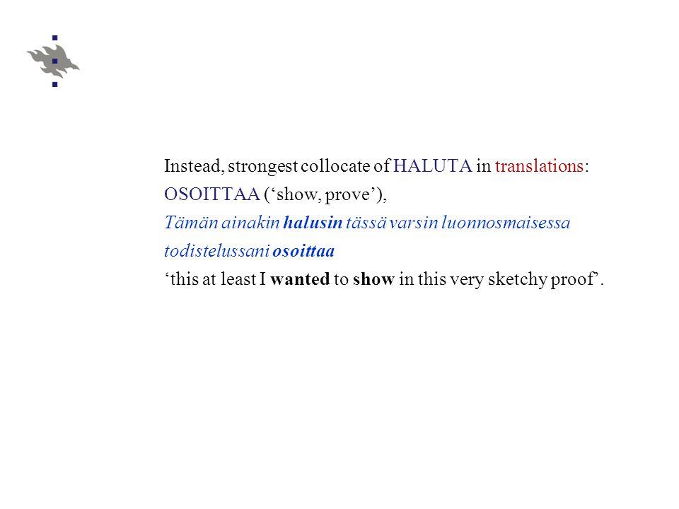 Instead, strongest collocate of HALUTA in translations: OSOITTAA ('show, prove'), Tämän ainakin halusin tässä varsin luonnosmaisessa todistelussani osoittaa 'this at least I wanted to show in this very sketchy proof'.