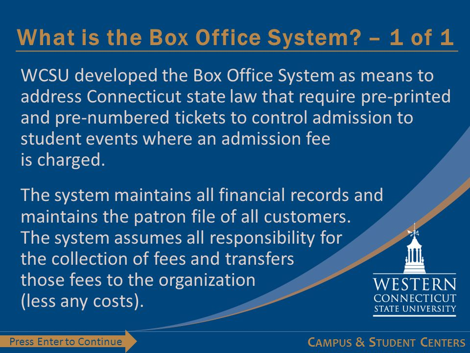 Learning Objectives - 1 of 1 At the conclusion of this module you will:  Understand the services offered by the Box Office System  Have a general knowledge of the reason behind the Box Office System  Understand the different type of tickets the system can produce  Understand the forms to be completed and the deadlines