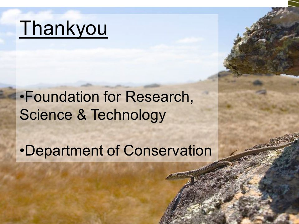Thankyou Foundation for Research, Science & Technology Department of Conservation