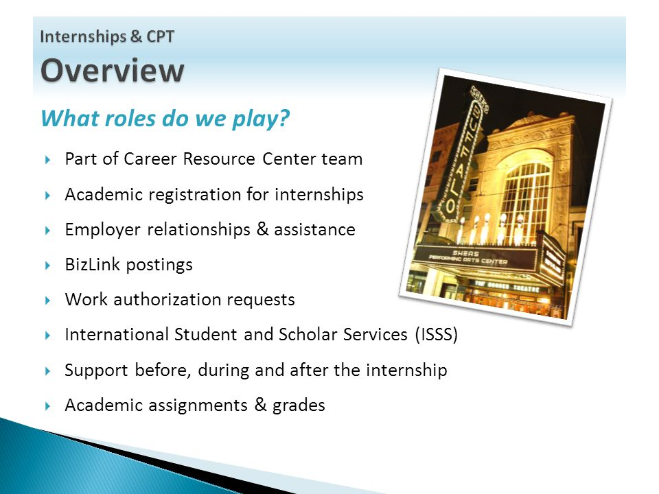 What roles do we play?  Part of Career Resource Center team  Academic registration for internships  Employer relationships & assistance  BizLink p