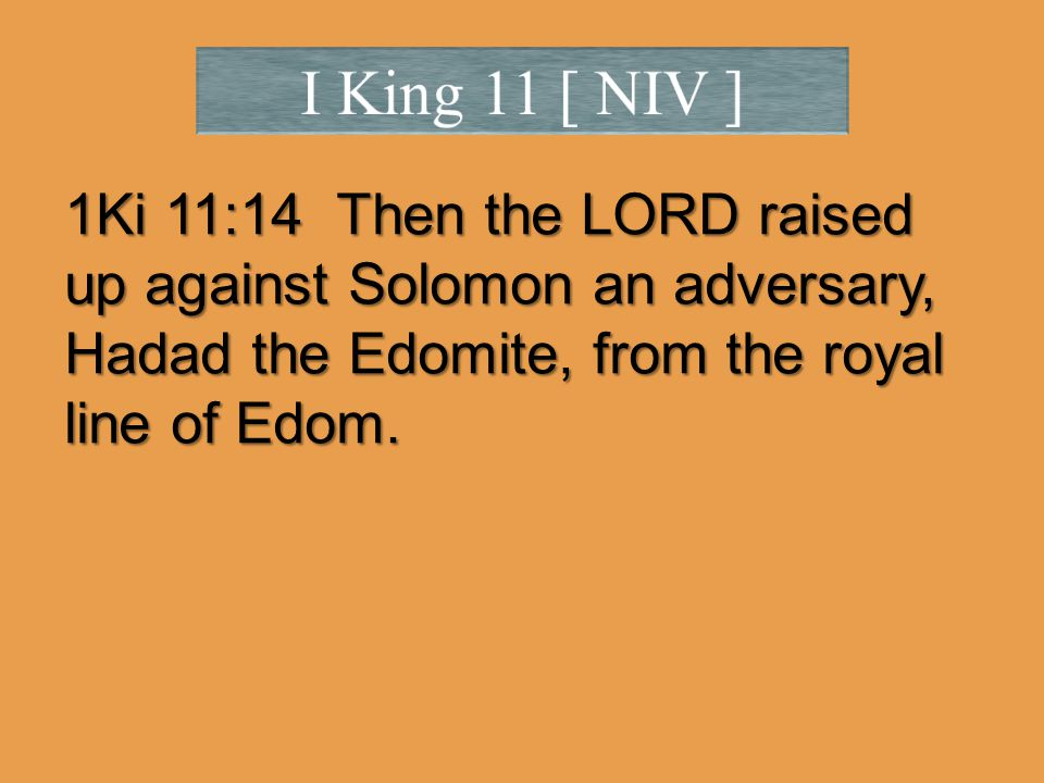 1Ki 11:14 Then the LORD raised up against Solomon an adversary, Hadad the Edomite, from the royal line of Edom.