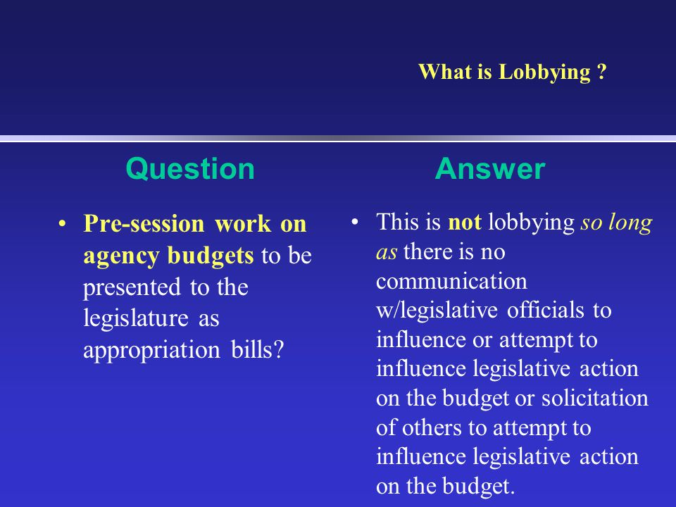 Pre-session work on agency budgets to be presented to the legislature as appropriation bills.