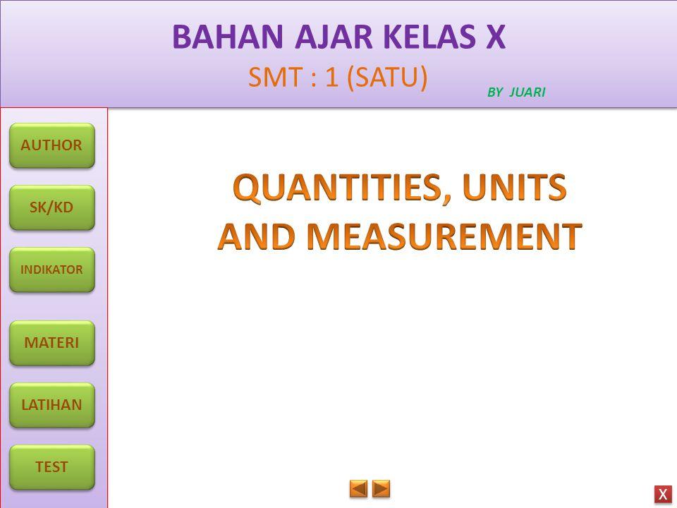 BAHAN AJAR KELAS X SMT : 1 (SATU) BAHAN AJAR KELAS X SMT : 1 (SATU) BY JUARI AUTHOR SK/KD INDIKATOR MATERI LATIHAN TEST X X Applying concept of physical quantities and their measurement.