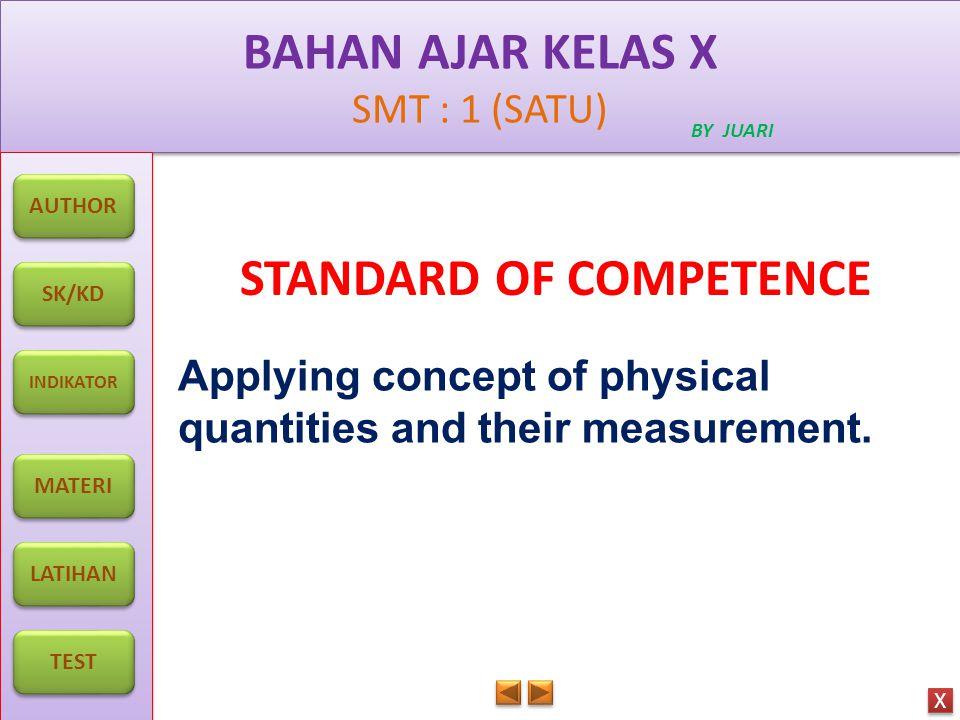 BAHAN AJAR KELAS X SMT : 1 (SATU) BAHAN AJAR KELAS X SMT : 1 (SATU) BY JUARI AUTHOR SK/KD INDIKATOR MATERI LATIHAN TEST X X INDICATOR 1.Comparing basic and derived quantities and giving the examples in daily life.