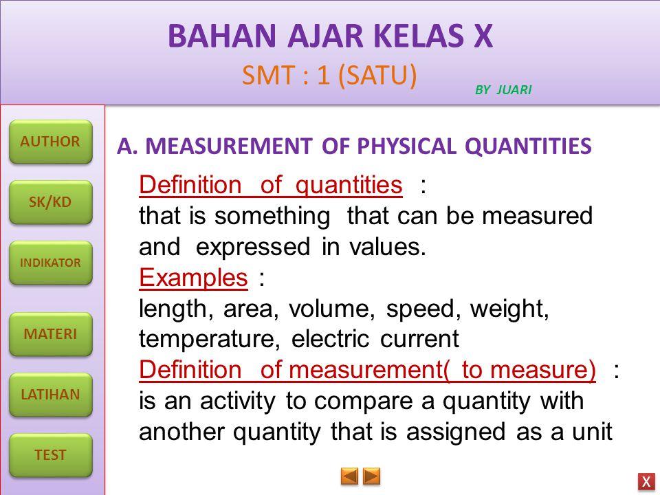 BAHAN AJAR KELAS X SMT : 1 (SATU) BAHAN AJAR KELAS X SMT : 1 (SATU) BY JUARI AUTHOR SK/KD INDIKATOR MATERI LATIHAN TEST X X EXAMPLES OF INSTRUMENTS TO MEASURE PHYSICAL QUANTITIES NONAME OF INSTRUMENTPHYSICAL QUNATITIES MEASURED 1 Meter ruler 2 Ruler 3 Balance 4 Dynamometer 5 Stop watch 6Vernier caliper 7Micrometer screw gauge