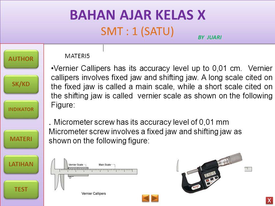 BAHAN AJAR KELAS X SMT : 1 (SATU) BAHAN AJAR KELAS X SMT : 1 (SATU) BY JUARI MATERI5 AUTHOR SK/KD INDIKATOR MATERI LATIHAN TEST X X. Micrometer screw