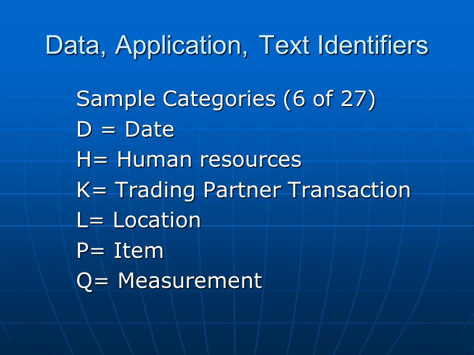 Sample Categories (6 of 27) D = Date H= Human resources K= Trading Partner Transaction L= Location P= Item Q= Measurement