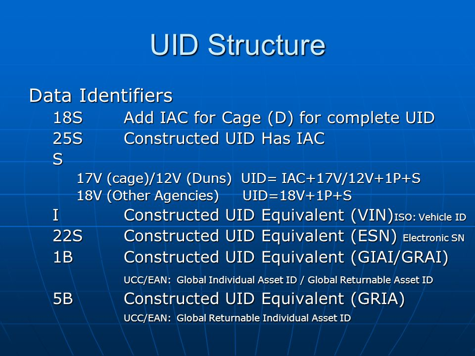 UID Structure Data Identifiers 18SAdd IAC for Cage (D) for complete UID 25SConstructed UID Has IAC S 17V (cage)/12V (Duns) UID= IAC+17V/12V+1P+S 18V (Other Agencies) UID=18V+1P+S IConstructed UID Equivalent (VIN) ISO: Vehicle ID 22SConstructed UID Equivalent (ESN) Electronic SN 1BConstructed UID Equivalent (GIAI/GRAI) UCC/EAN: Global Individual Asset ID / Global Returnable Asset ID 5BConstructed UID Equivalent (GRIA) UCC/EAN: Global Returnable Individual Asset ID