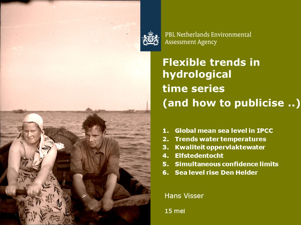 Hans Visser 15 mei 1 Flexible trends in hydrological time series (and how to publicise..) 1.Global mean sea level in IPCC 2.Trends water temperatures 3.Kwaliteit oppervlaktewater 4.Elfstedentocht 5.Simultaneous confidence limits 6.Sea level rise Den Helder