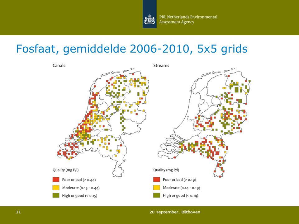 Fosfaat, gemiddelde 2006-2010, 5x5 grids 20 september, Bilthoven 11
