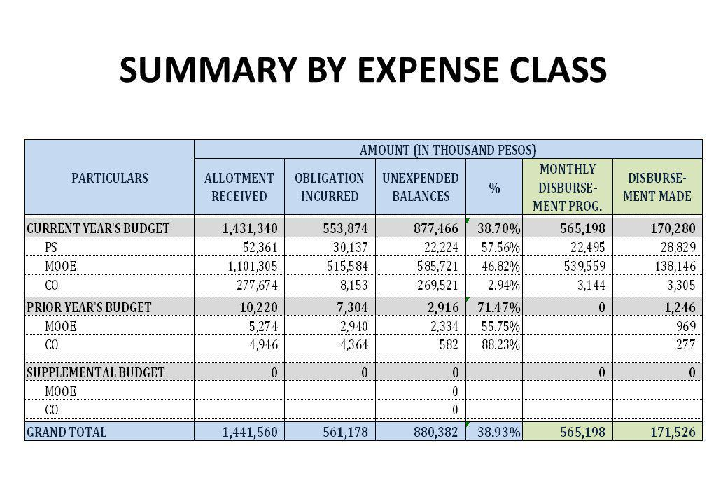 SUMMARY BY EXPENSE CLASS