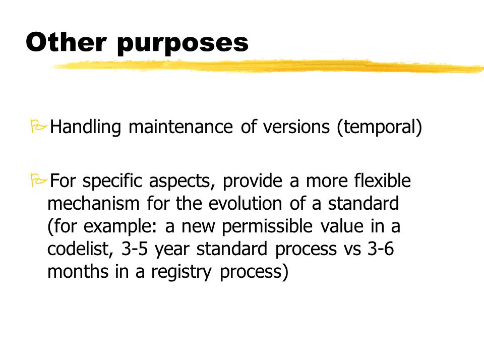 Other purposes PHandling maintenance of versions (temporal) PFor specific aspects, provide a more flexible mechanism for the evolution of a standard (for example: a new permissible value in a codelist, 3-5 year standard process vs 3-6 months in a registry process)