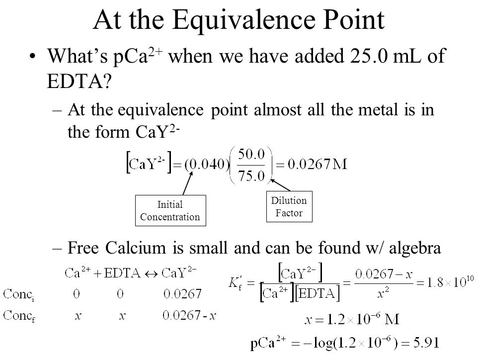 At the Equivalence Point What's pCa 2+ when we have added 25.0 mL of EDTA? –At the equivalence point almost all the metal is in the form CaY 2- –Free