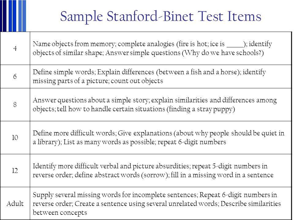 Sample Stanford-Binet Test Items 4 Name objects from memory; complete analogies (fire is hot; ice is ______); identify objects of similar shape; Answe