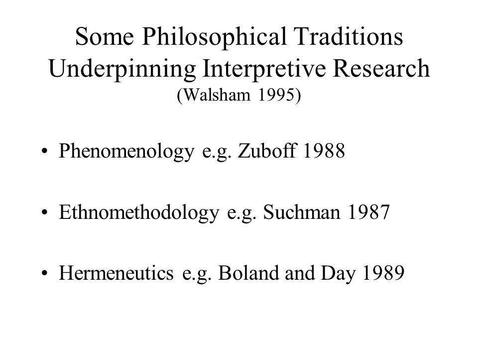 Some Philosophical Traditions Underpinning Interpretive Research (Walsham 1995) Phenomenology e.g. Zuboff 1988 Ethnomethodology e.g. Suchman 1987 Herm