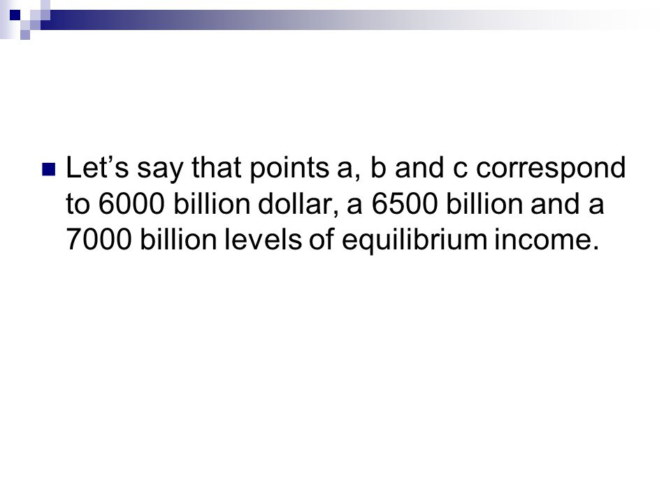 Let's say that points a, b and c correspond to 6000 billion dollar, a 6500 billion and a 7000 billion levels of equilibrium income.