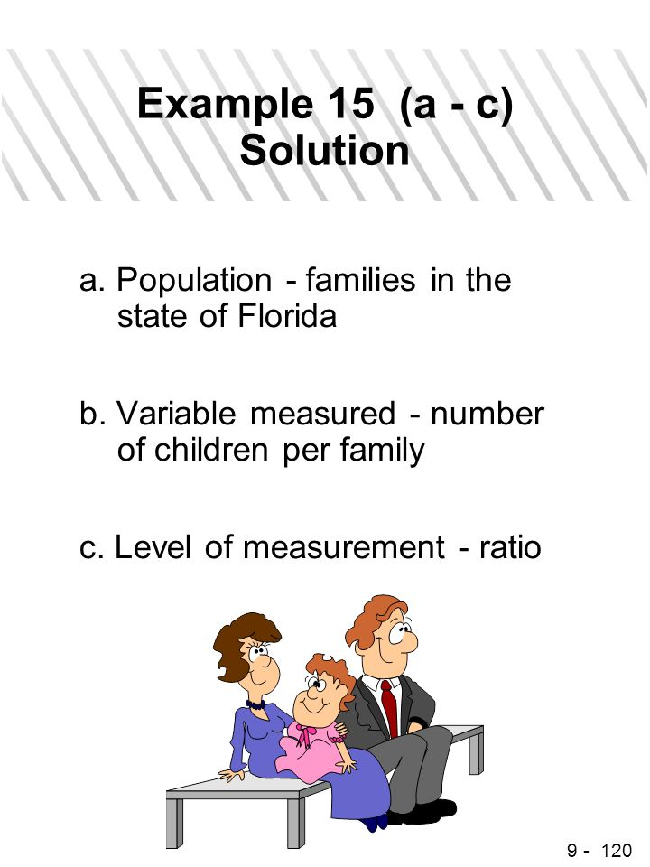 9 - 120 Example 15 (a - c) Solution a. Population - families in the state of Florida b. Variable measured - number of children per family c. Level of
