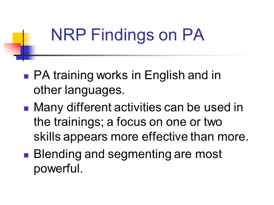 NRP Findings on PA PA training works in English and in other languages.