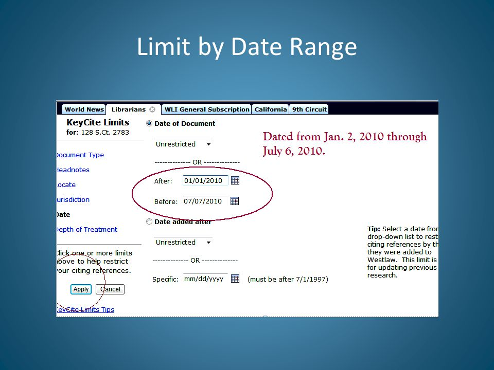 Limit by Date Range