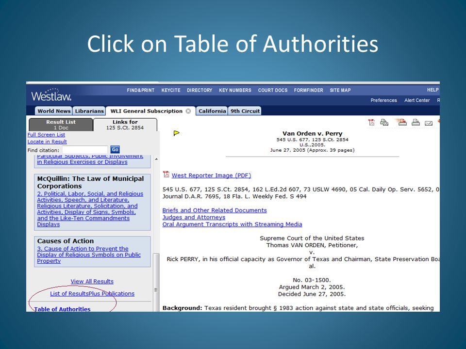 Click on Table of Authorities
