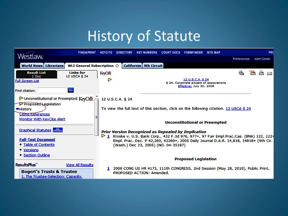 History of Statute